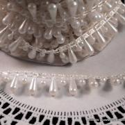3 yards - Teardrop Pearls - Coconut (Ivory)