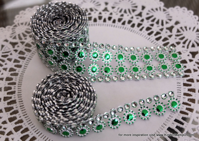 Two yards of faux Rhinestone and Blossom Trim - Emerald and Diamonds