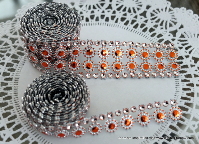 Two yards of faux Rhinestone and Blossom Trim - Orange and Diamonds