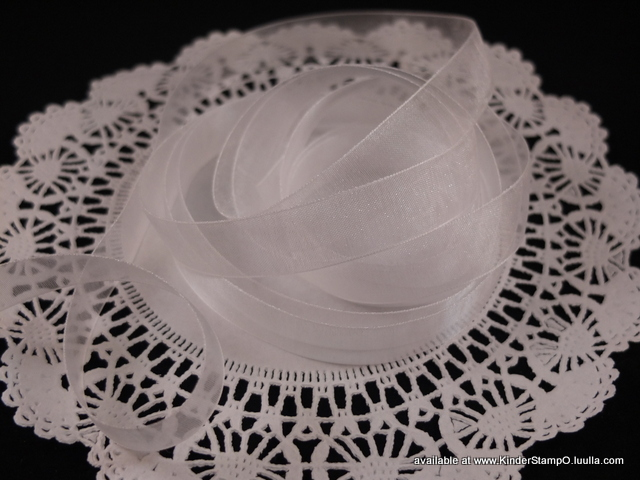 5 yards - 5/8 inch Organza Ribbon - Marshmallow (White)