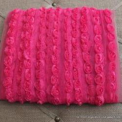 3 feet of Mini Shabby Chic Flower trim - Fuschia